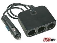 Auto 12Vdc 3-Weg verdeler + USB